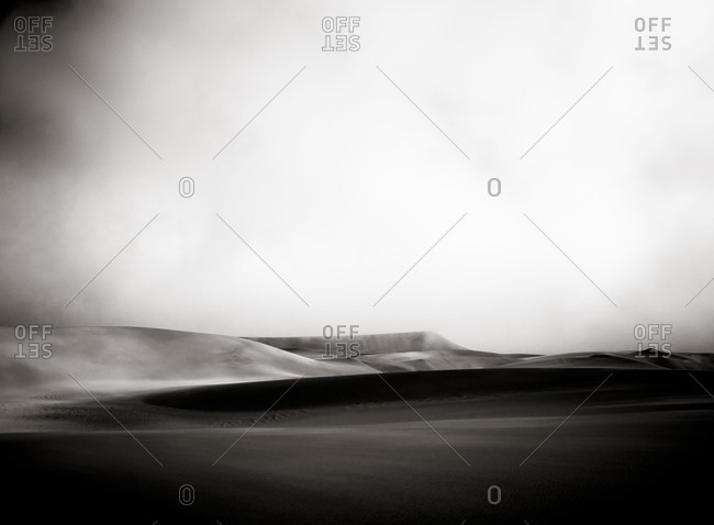 Namib desert with fog rolling in