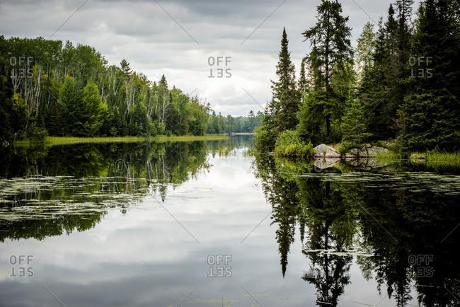 Landscape reflected in lake in Minnesota