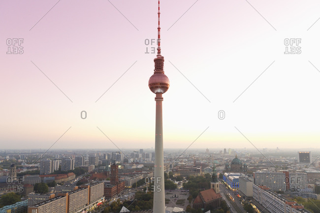 Berlin TV Tower and cityscape in the evening light