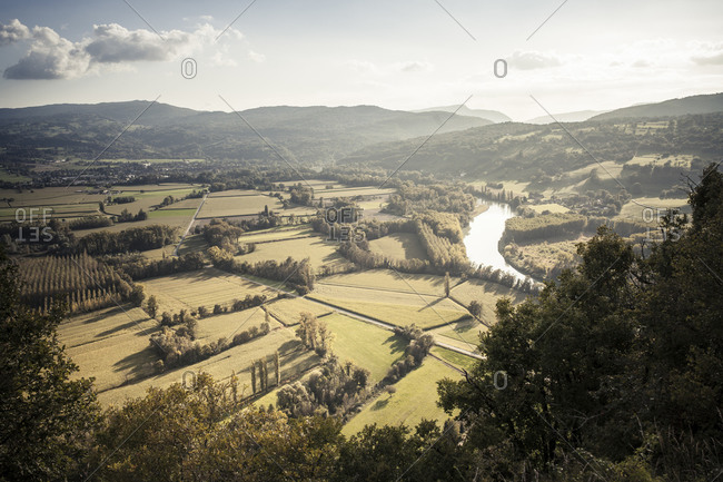 Rhone Valley and Rhone river in late summer