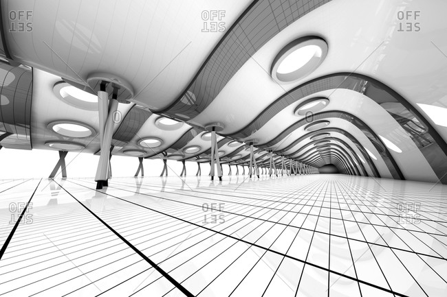 3D Rendering of futuristic room with skylights,