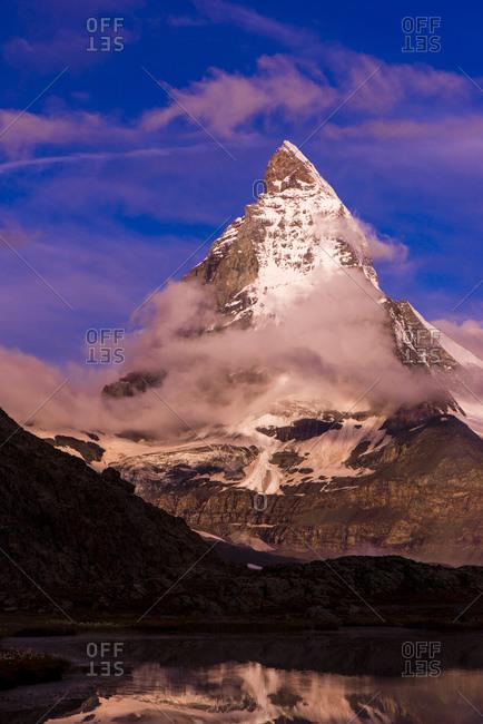 View to Matterhorn at twilight
