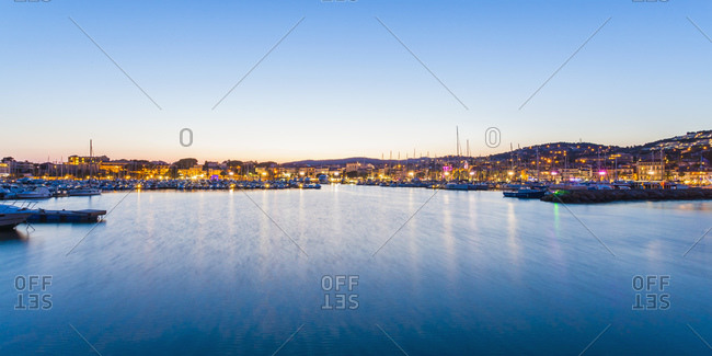 Panoramic of a marina in the evening