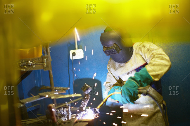 Welder working from the Offset Collection