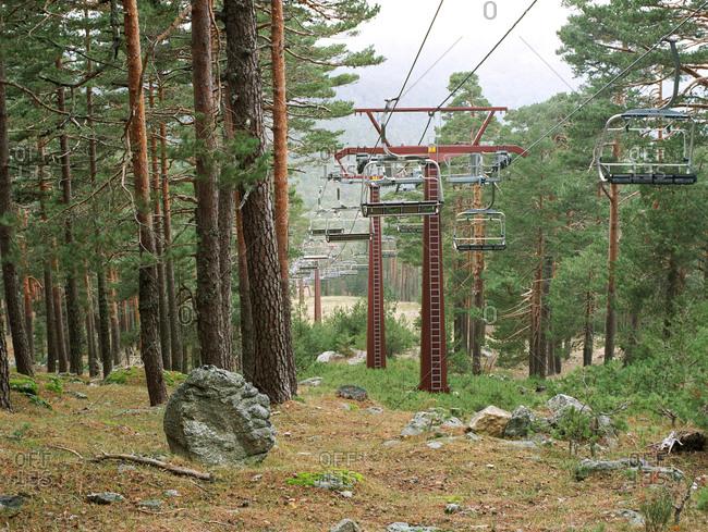 Ski-slope chair-lifts in the off-season, Navacerrada, Spain