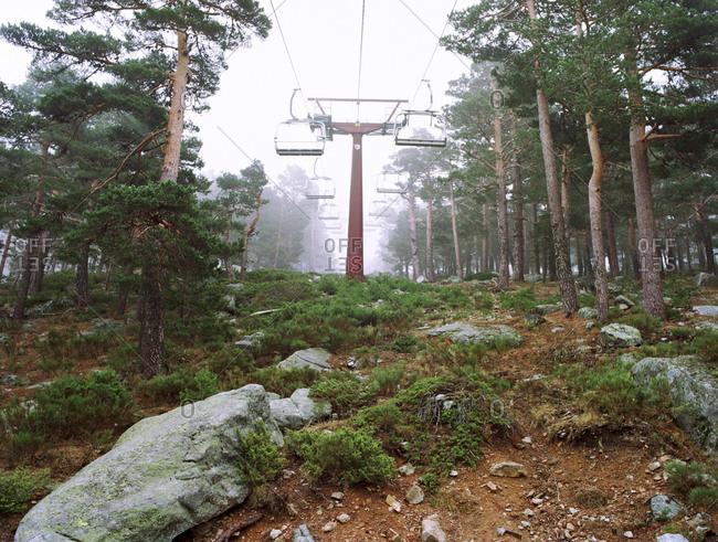 Chair lift at ski resort during off season, Navacerrada, Spain