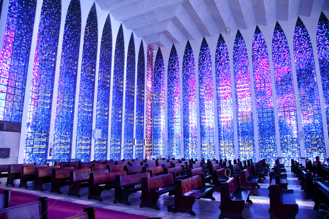Brasilia, Brazil - June 16, 2010: Interior of the Santuario Dom Bosco designed by Claudio Naves, Brasilia