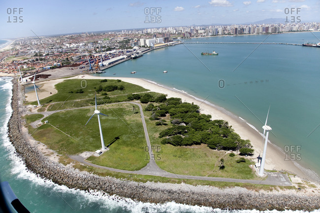 Aerial view of wind turbines in a park in the Fortaleza bay area, Brazil
