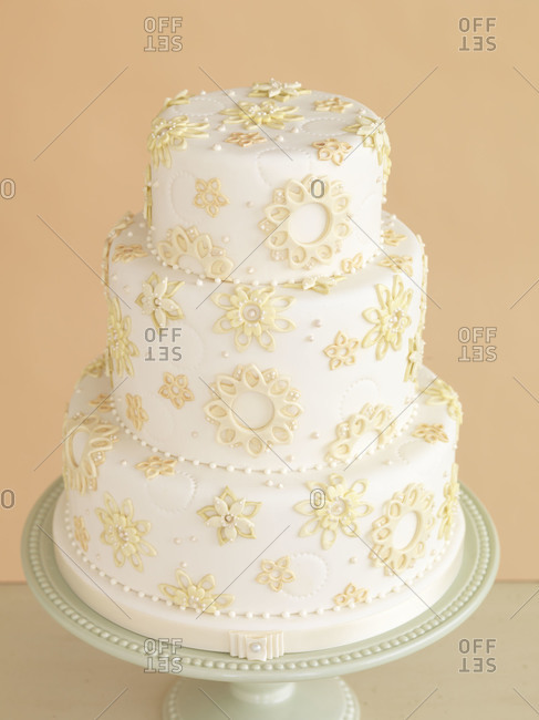 Three tier wedding cake studio shot