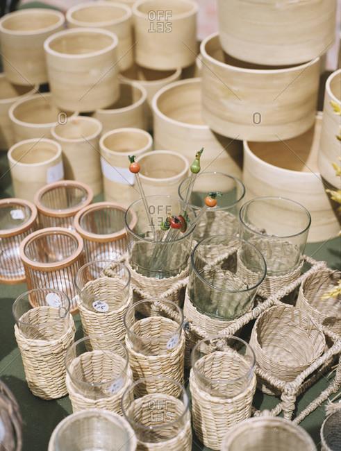 Various houseware items at estate sale