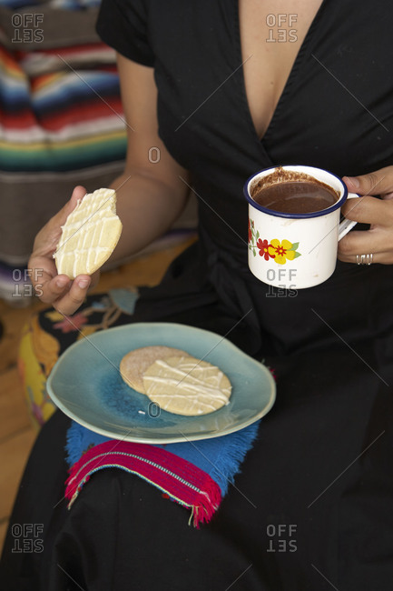 Woman with cookies and hot cocoa