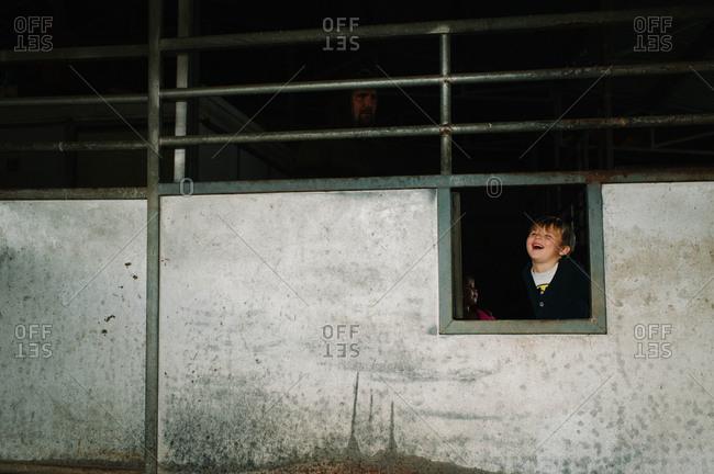 Children play in the night