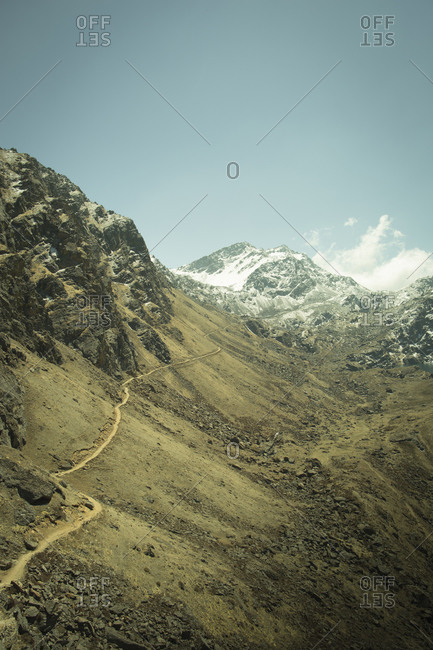 The trail up to Gosaikunda winds above tree-line in Nepal's Langtang Region