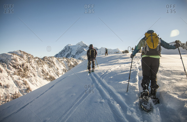 Two skiers and a snowshoer explore a winter wonderland at Mount Baker, Washington