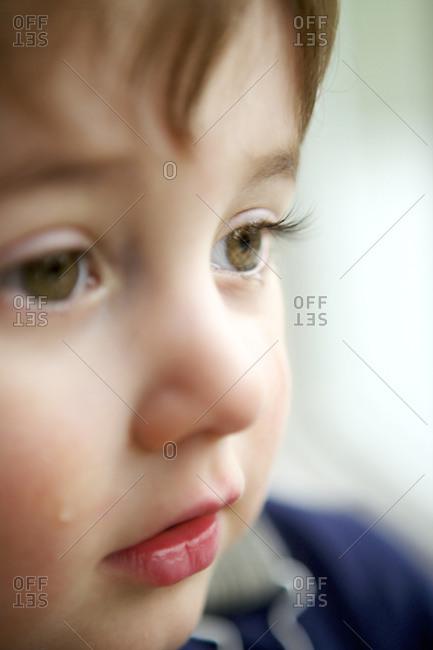 A little boy cries