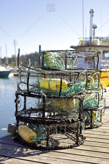 Crab traps on dock