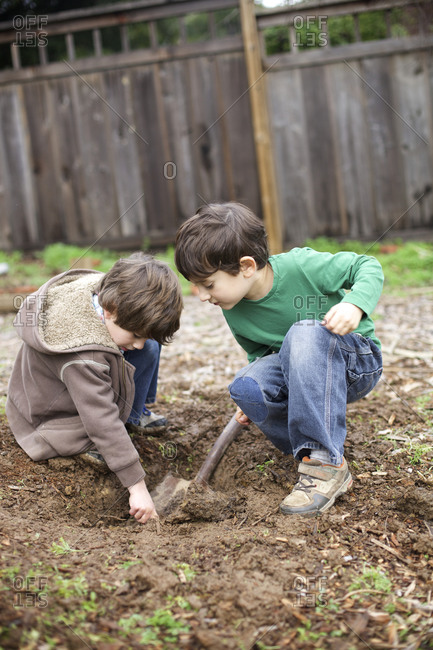 Two boys dig a hole