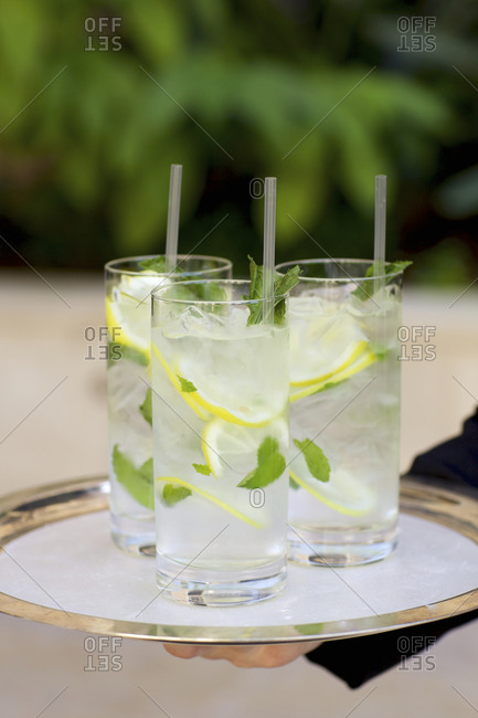 A tray of ice water with lemon and mint