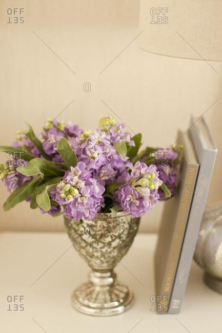 Purple flowers in a vase