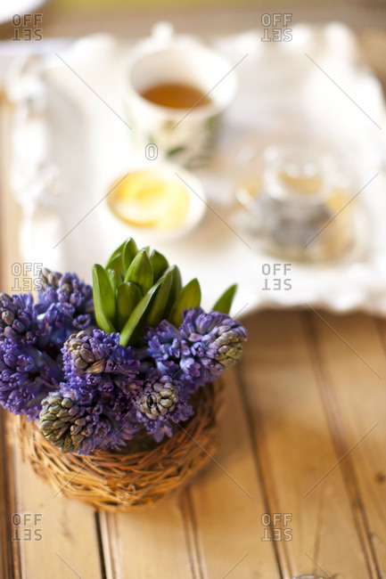 Flower decoration on breakfast table