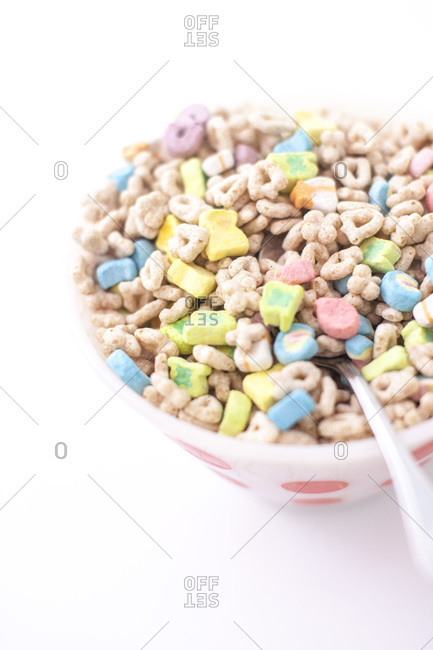 Bowl of colorful cereal