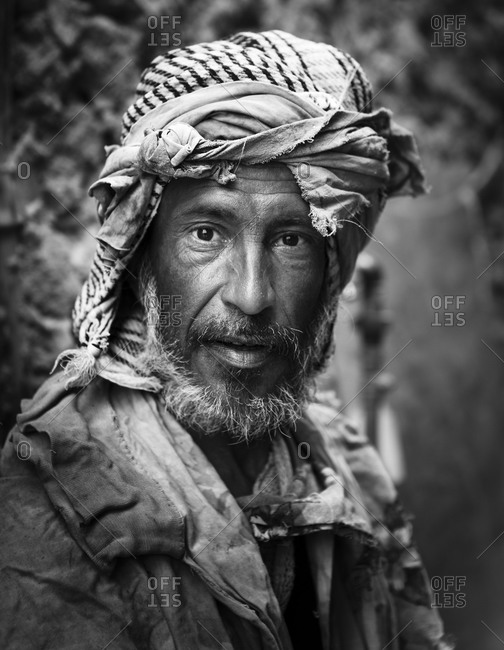 Siwa, Egypt - May 1, 2011: Portrait of Egyptian man with head scarf