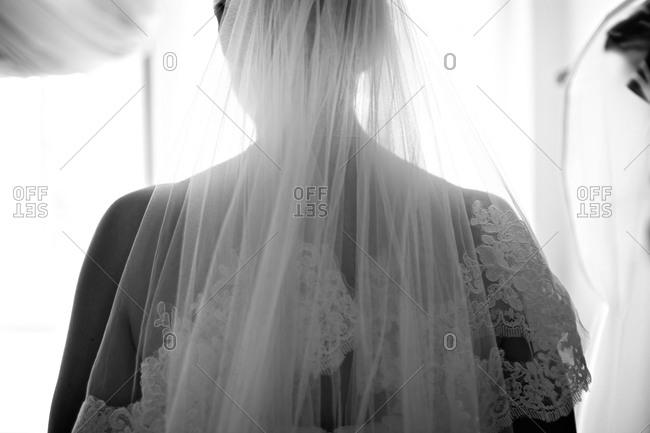 Bride in veil before wedding