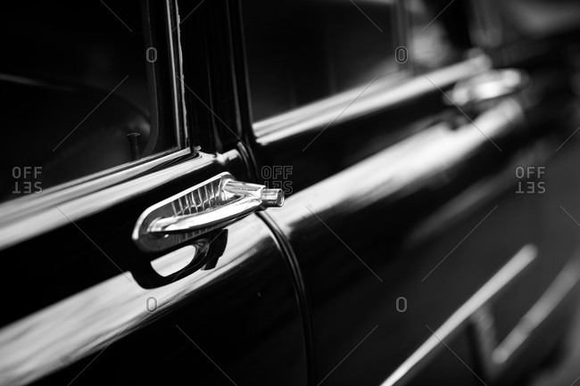 Close-up view of door hand le of wedding limousine
