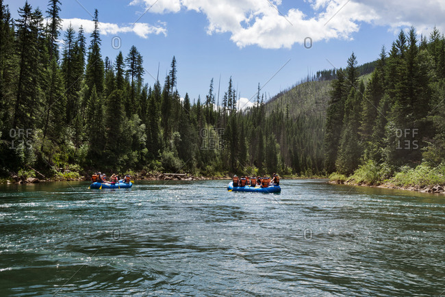 Rafters in river in Montana