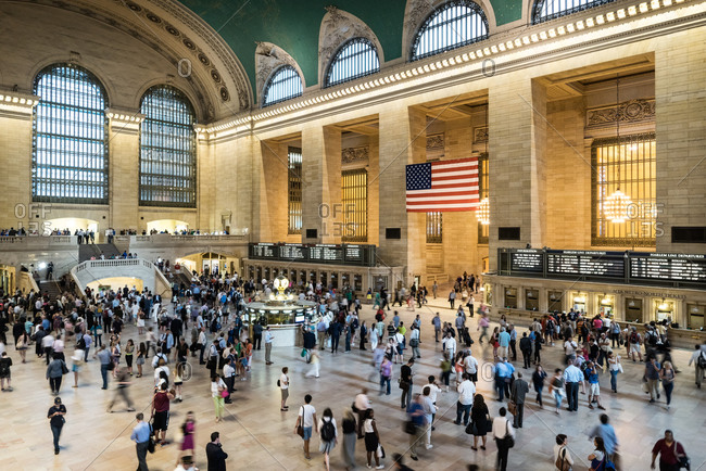 New York, NY, USA - August 13, 2014: Grand Central Station main concourse with crowds