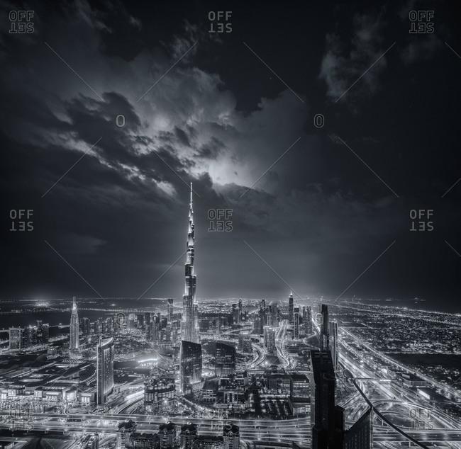 Monochromatic Dubai skyline