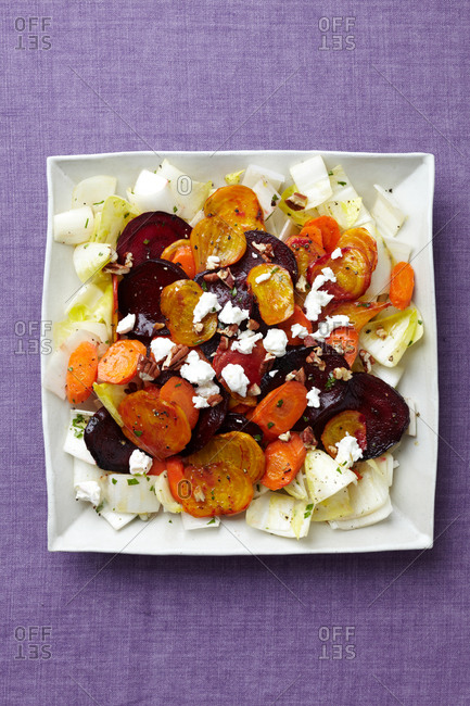 Beets served with feta cheese