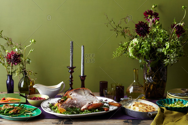 A Thanksgiving dinner spread