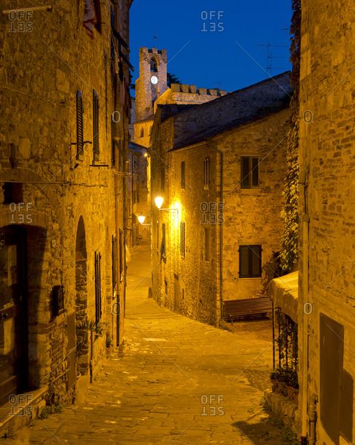 Empty street at night in Suvereto, Tuscany