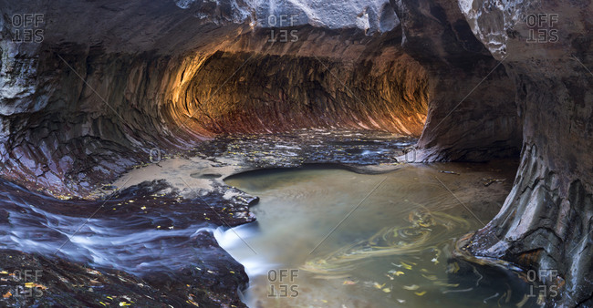 A panorama of Zion's iconic Subway formation in Utah