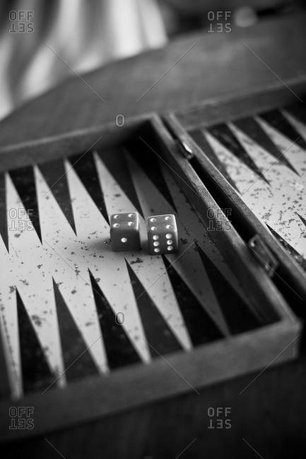 Dice on backgammon board