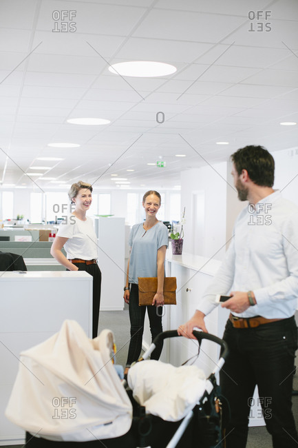 Man with buggy in office