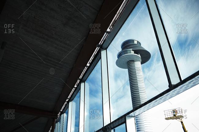 Air control tower seen through window