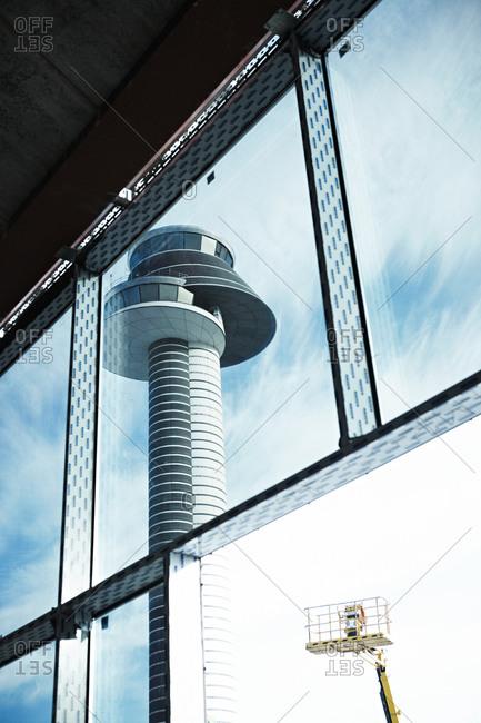 Air control tower  through window