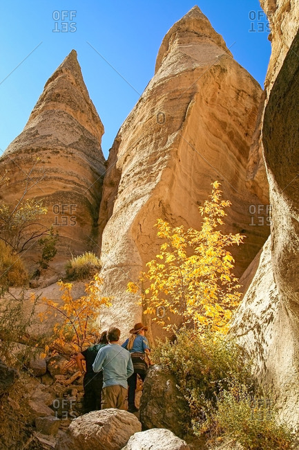 Hikers at the Kasha-Katuwe Tent Rocks National Monument in New Mexico