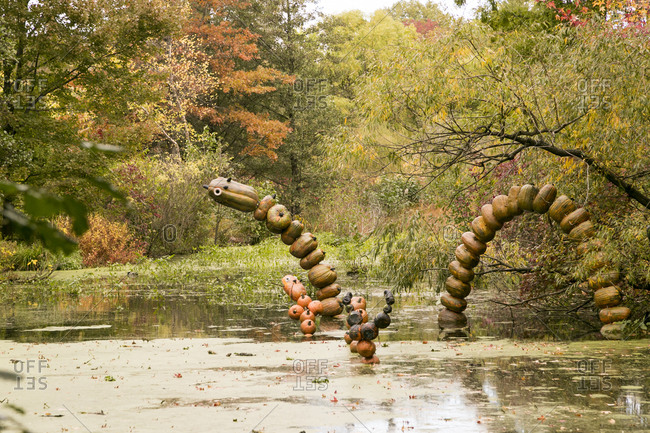 Halloween decorations in a lake