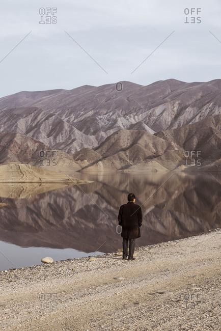 A man admires a mountainous view