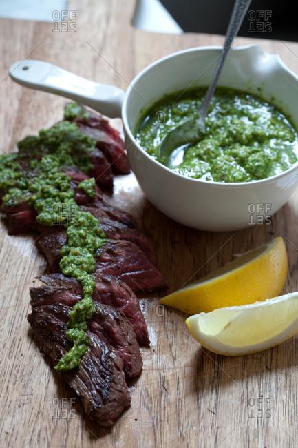Hanger steak with fresh green herb sauce