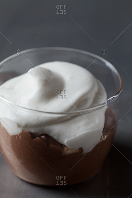 Chocolate mousse with whipped cream
