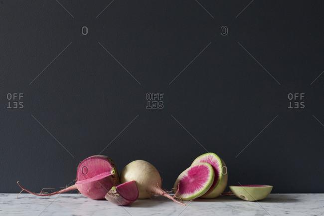 Sliced beet on table