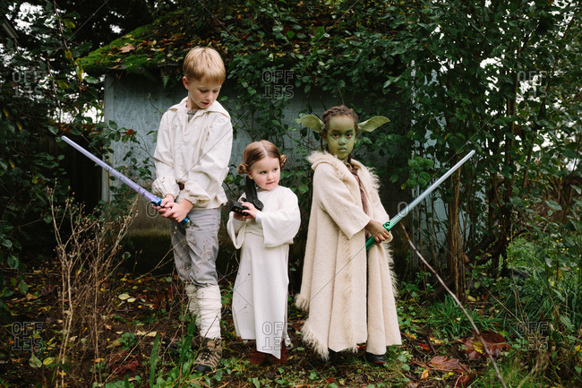 October 31, 2014: Kids dressed as Star Wars characters in backyard