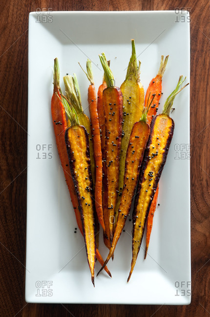 Roasted Carrots with Fried Black Mustard Seeds