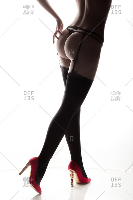 Woman with stockings and heels