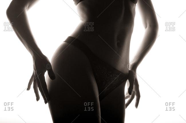 Woman modeling black panties