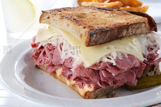 Toasted reuben sandwich